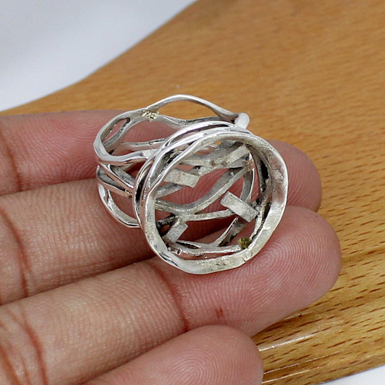 925 Sterling Silver Round 16mm Cab Stone Wire Crafted Designer Blank Bezel Cup Ring Collet
