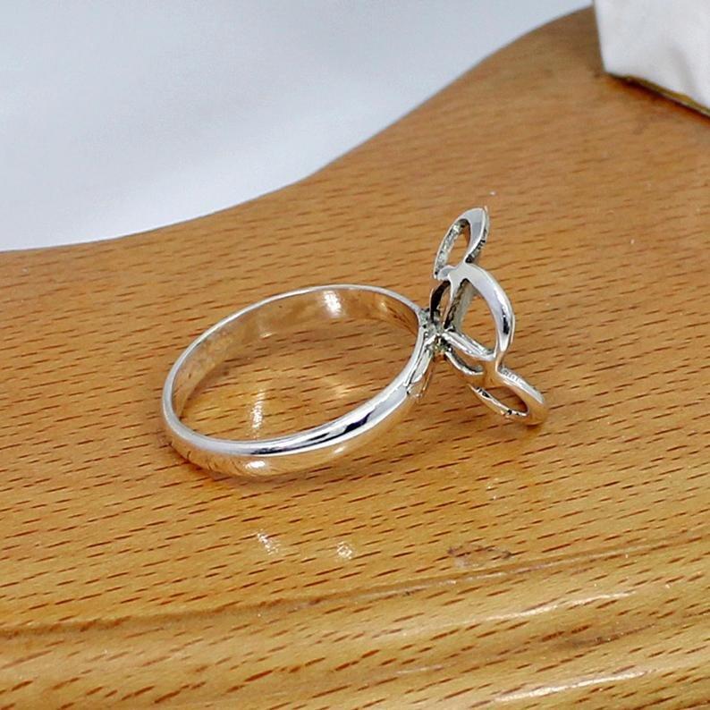 925 Sterling Silver Round 16mm Flower Designer Blank Bases Ring Collet