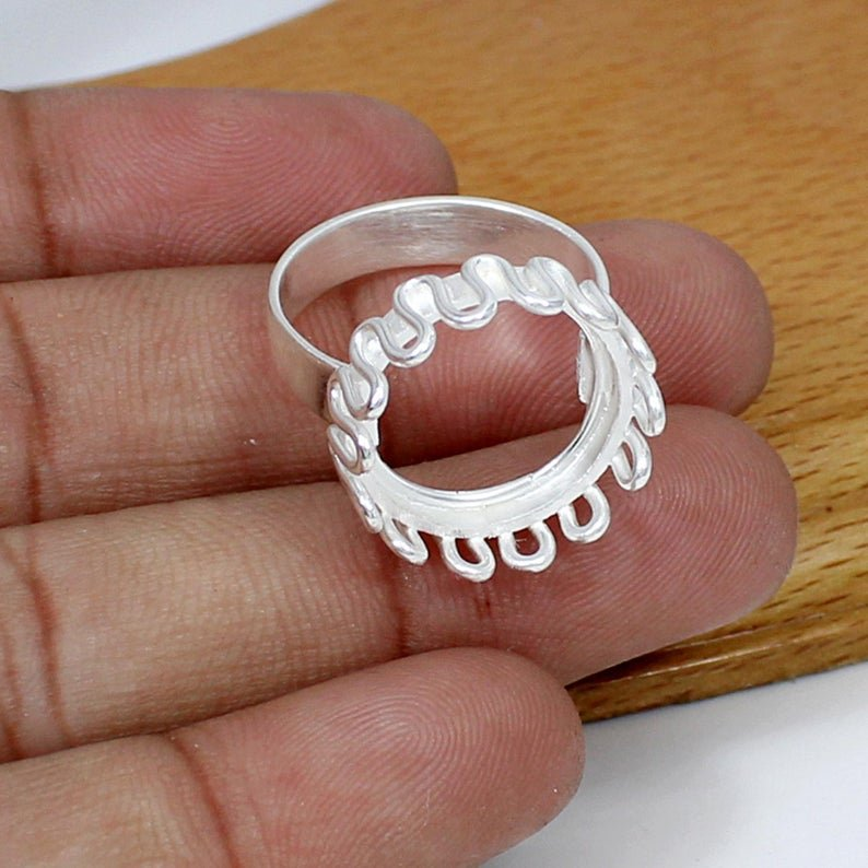 925 Sterling Silver Round 16mm Stone Blank Bezel Cup Zig Zag Wire Band Ring Collet