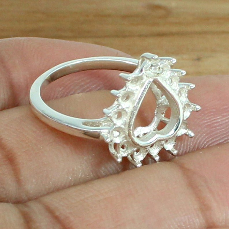 925 Sterling Silver Round 2mm 14 Stone Cluster Heart Prong Pre Notched Ring Setting