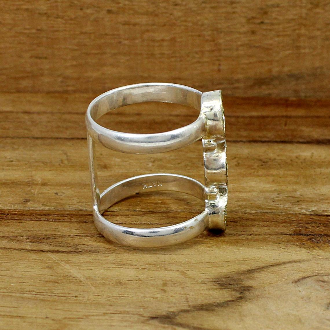925 Sterling Silver Round 5mm 3 Stone Blank Bezel Cup Double Bar Designer Ring Collet