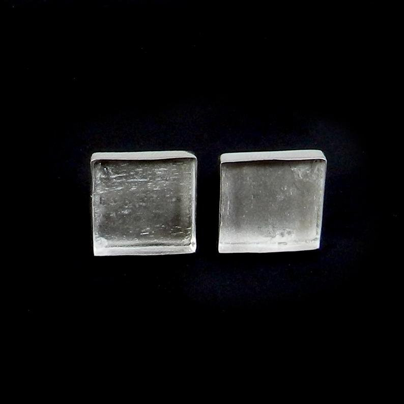 925 Sterling Silver Stud Earring Collet 3x3mm To 18x18mm Square Gemstone Blank Bezel Cup For Earring Making Metal Casting Stud Earring