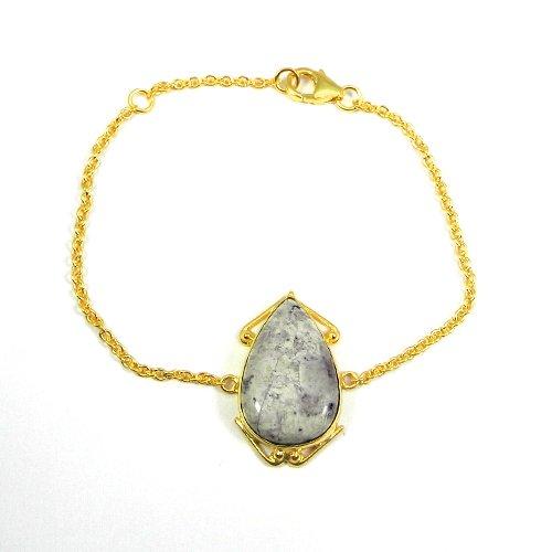 "925 Sterling Silver Tiffiany Jasper Gold Plated Bezel Set 7"" Chain Bracelet"