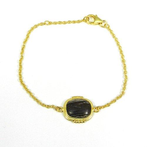 925 Sterling Silver Yeovapi Jasper Gold Plated Bezel Set Chain Bracelet