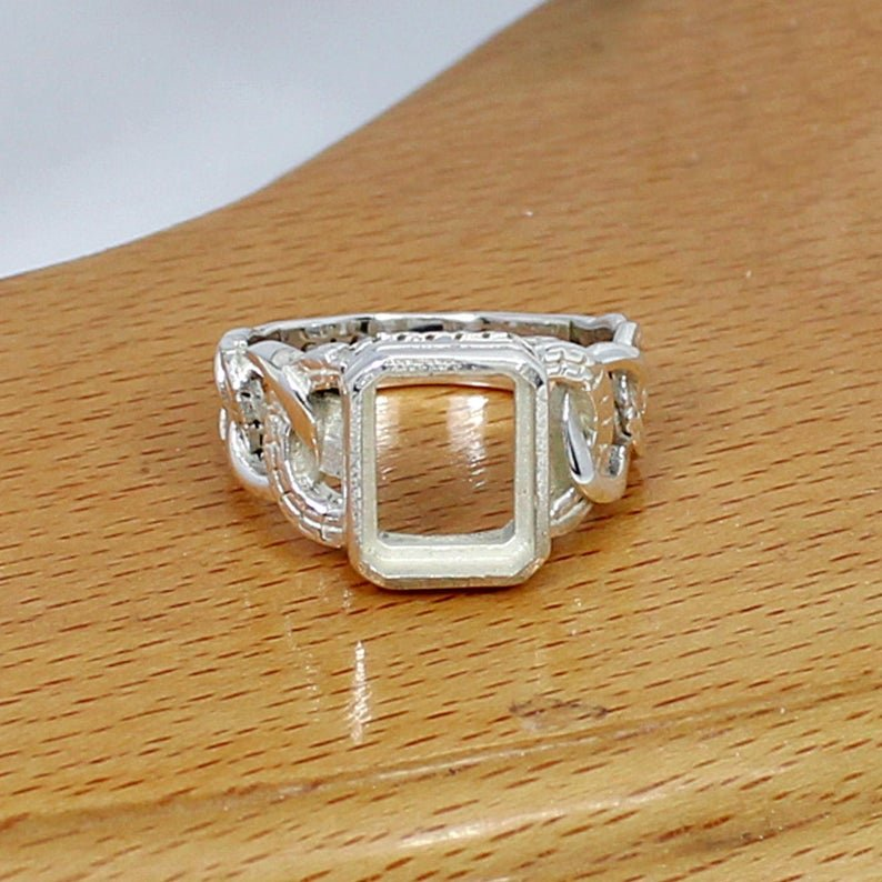 925 Sterling Solid Silver Rectangle 11x9mm Stone Blank Bezel Cup Ring Collet