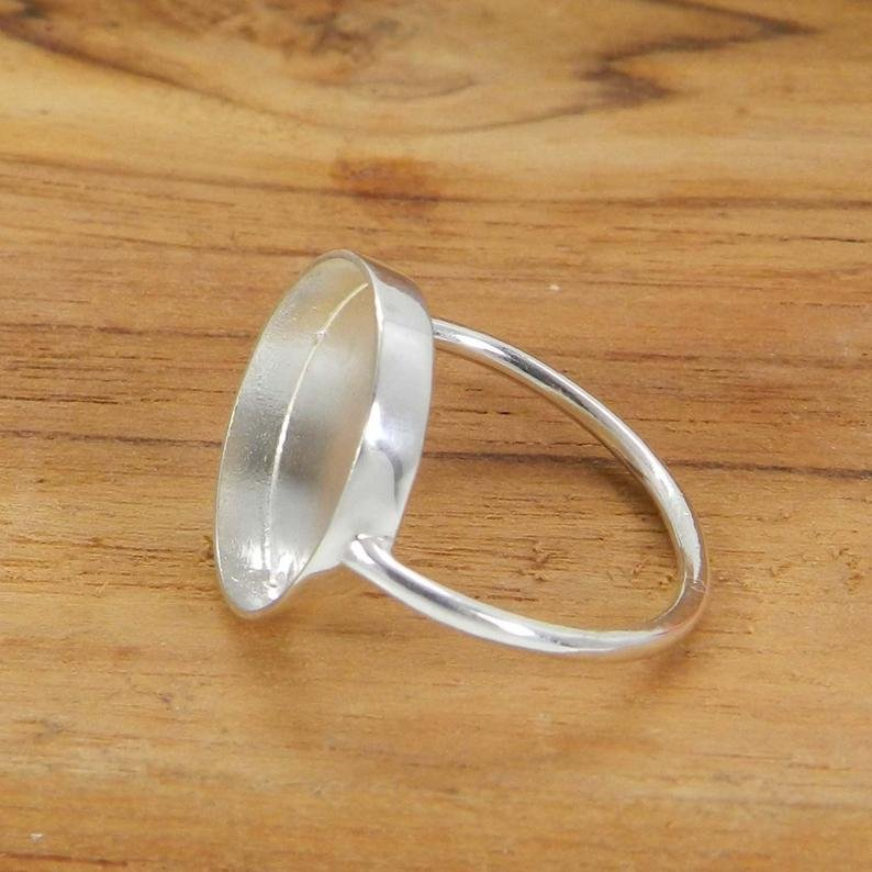 925 Sterling Solid Silver Ring Collet 3mm To 25mm Round Rose Cut Stone Close Back Bezel Cup For Ring Metal Casting For Ring Setting