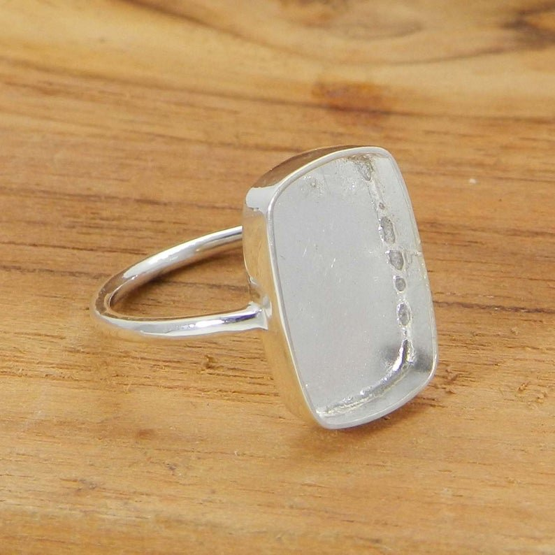 925 Sterling Solid Silver Ring Collet 6x4mm To 25x20mm Rectangle Cushion Stone Close Back Bezel Cup For Ring Making Metal Casting For Ring Setting