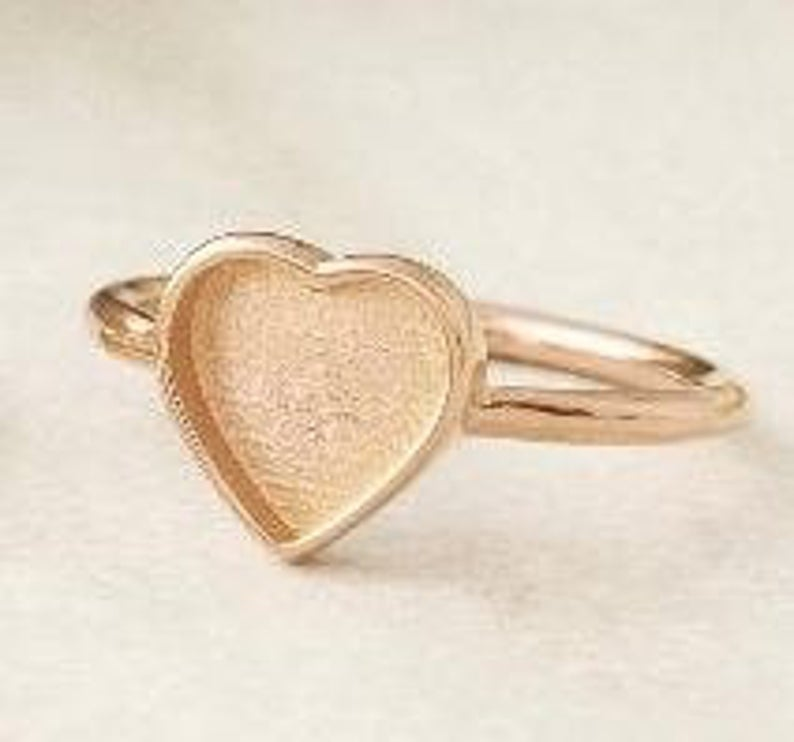 925 Sterling Solid Silver Ring Collet Heart 9x9mm Close Back Bezel Cup For Ring Making Metal Casting For Ring Setting