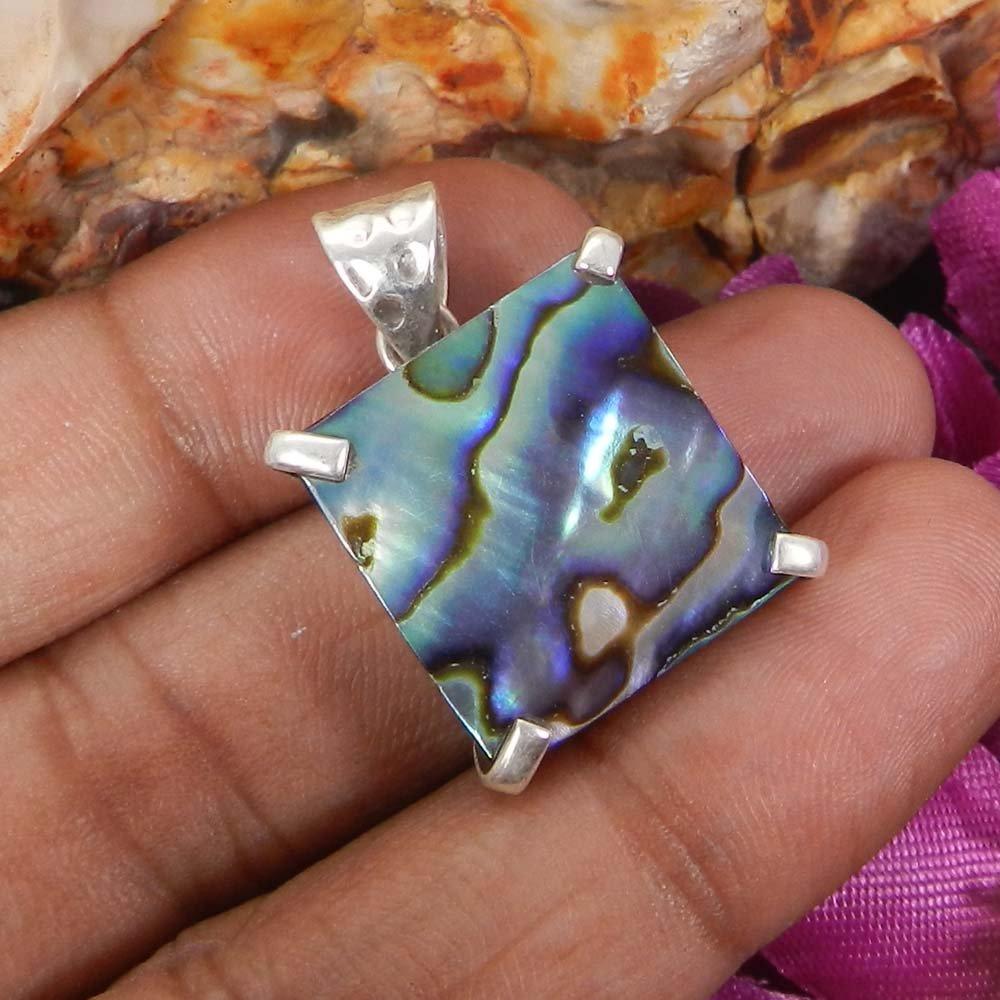 Abalone Shell 925 Sterling Silver Designer Prong Set Pendant