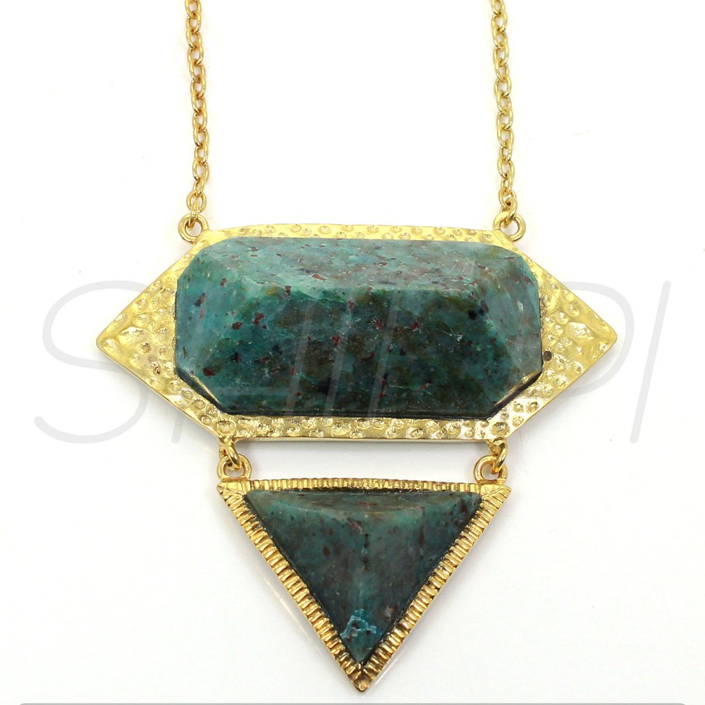 African Turquoise Gold Plated Long Chain Designer Pendant Necklace