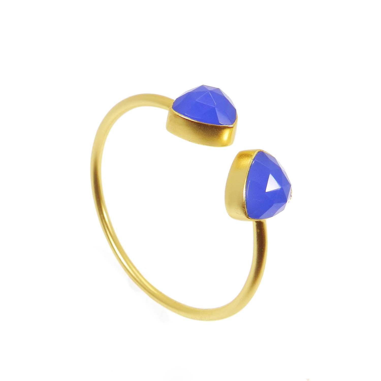 Agatha Blue chalcedony 14x14mm trillion gold plated cuff bracelet