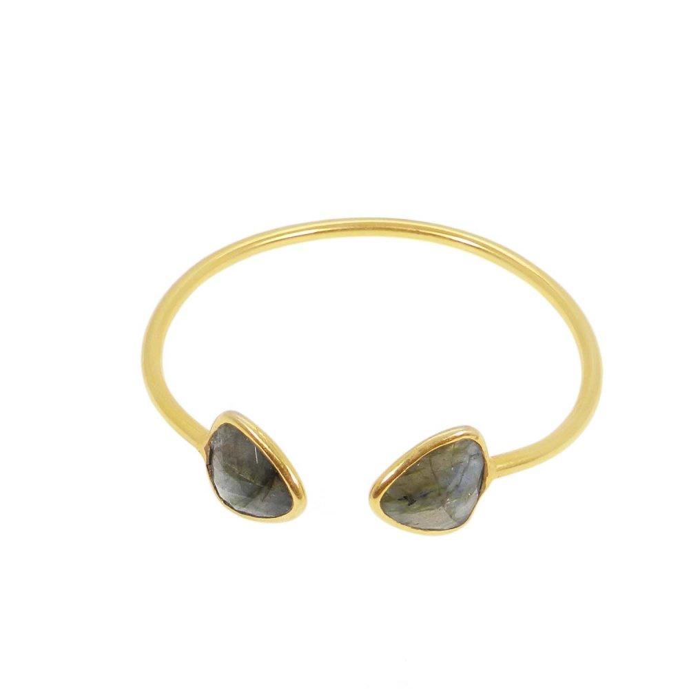 Agatha Labradorite gold plated adjustable bezel set bracelet