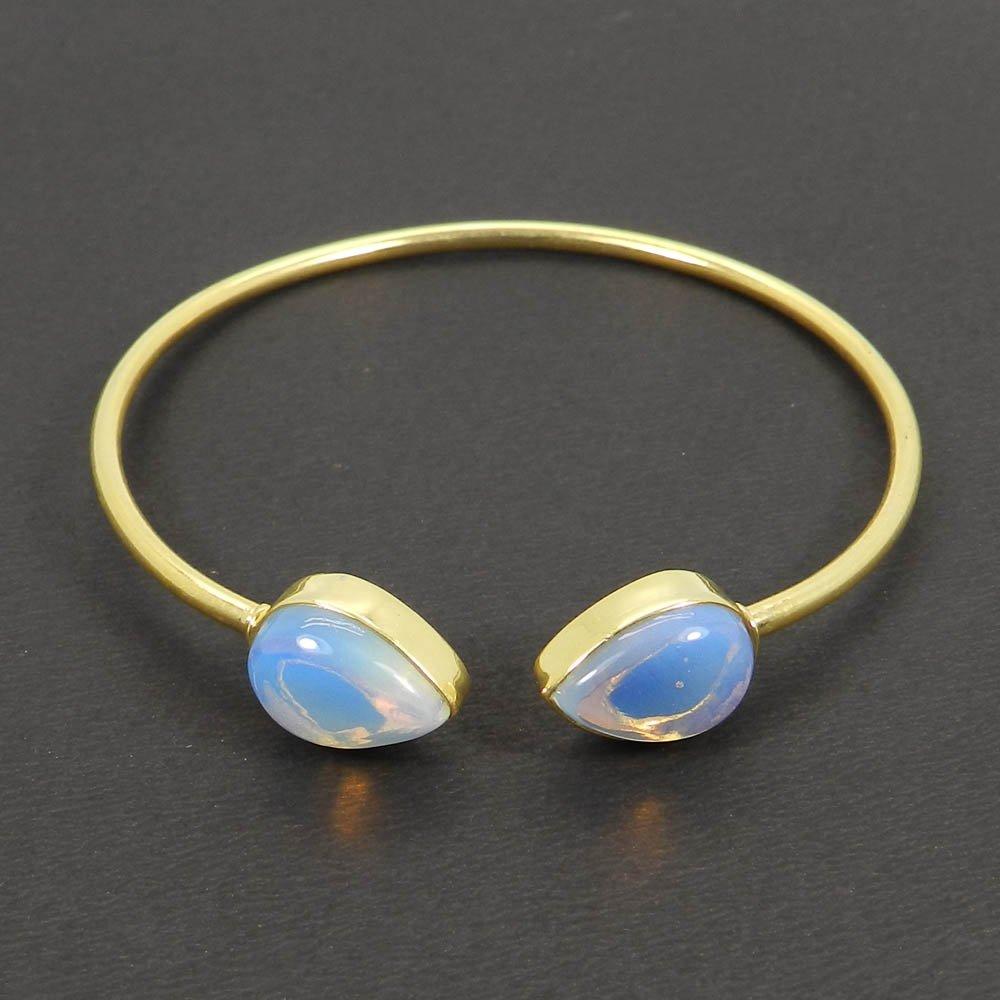 Agatha Opalite hydro pear gold plated cuff bracelet