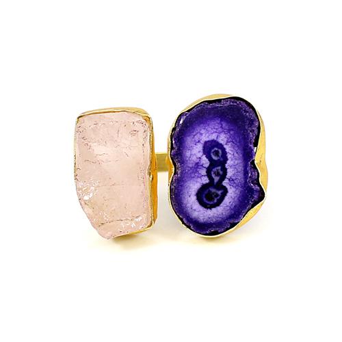 Alluring Look Natural Rough Rose Quartz & Purple Solar Quartz Druzy Gemstone Ring Brass Gold Plated Adjustable Rings Boho Ring