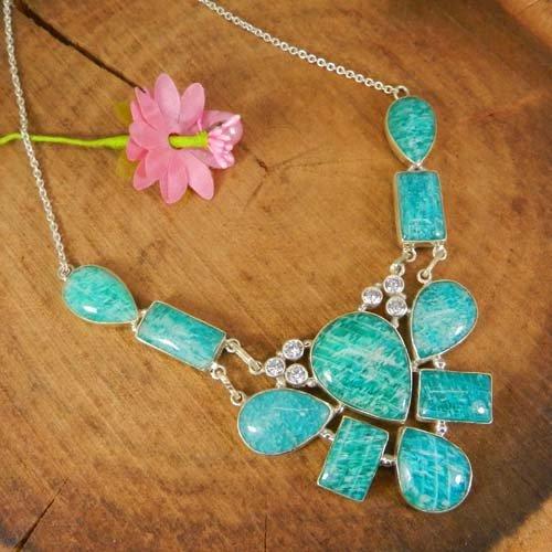 Amazonite & CZ 925 Sterling Silver 20 Inch Designer Chain Necklace
