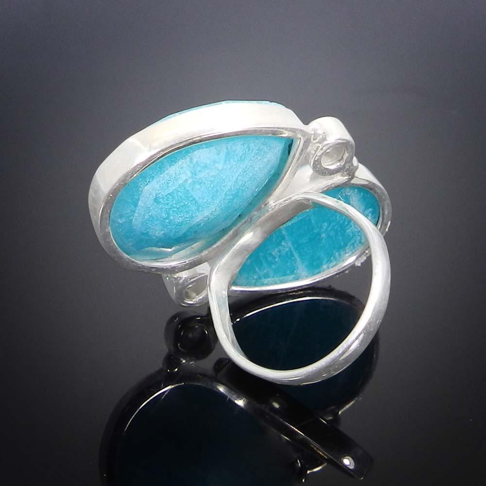 Amazonite & CZ 925 Sterling Silver Designer Adjustable Ring