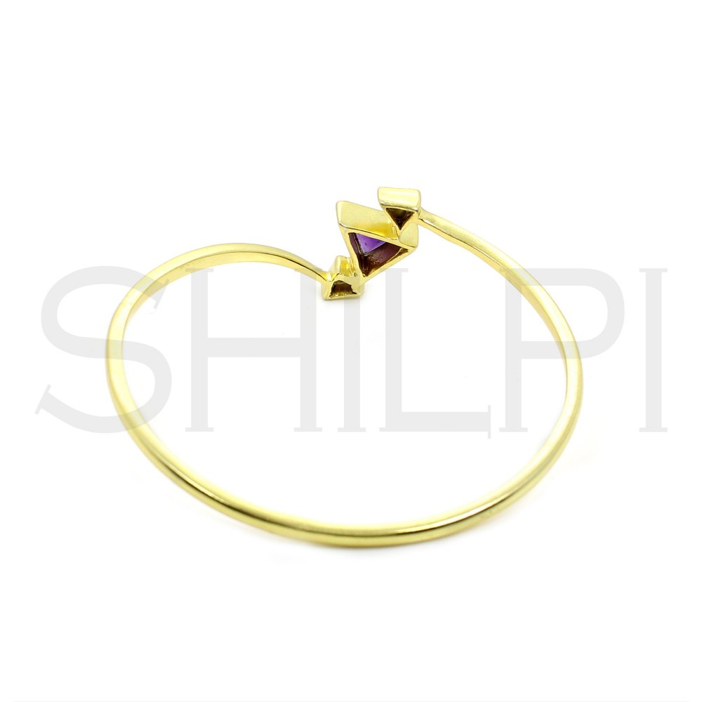Amethyst & CZ Gold Plated Handmade Bracelet