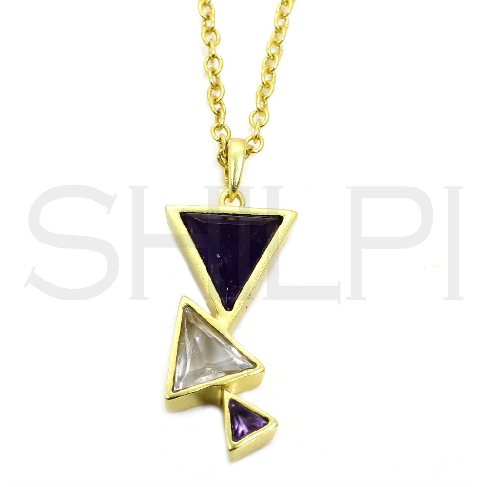 Amethyst & CZ Gold Plated Long Chain Handmade Necklace