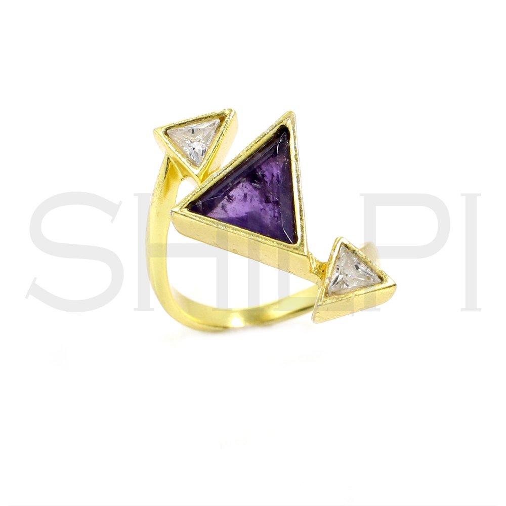 Amethyst & CZ Handmade Gold Plated Ring