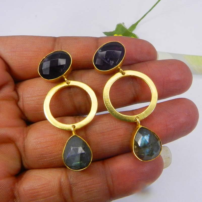 Amethyst & labradorite gold plated designer bezel set stud earring
