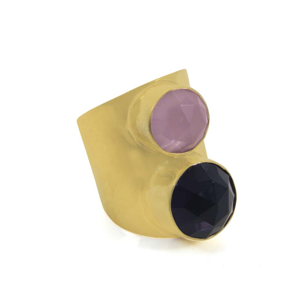 Amethyst & Rose Chalcedony Gold Plated Adjustable Bezel Cuff Ring