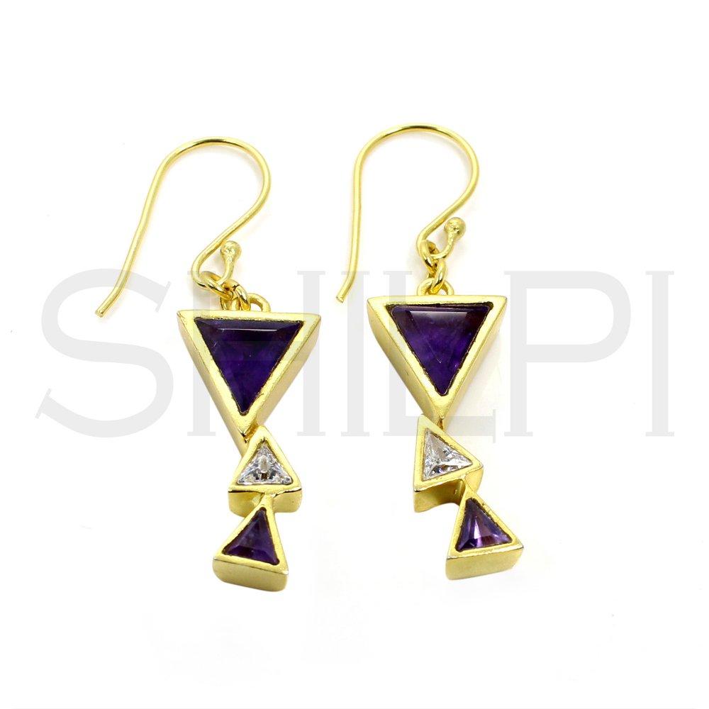 Amethyst & Zircon Gold Plated Designer Handmade Dangle Earring