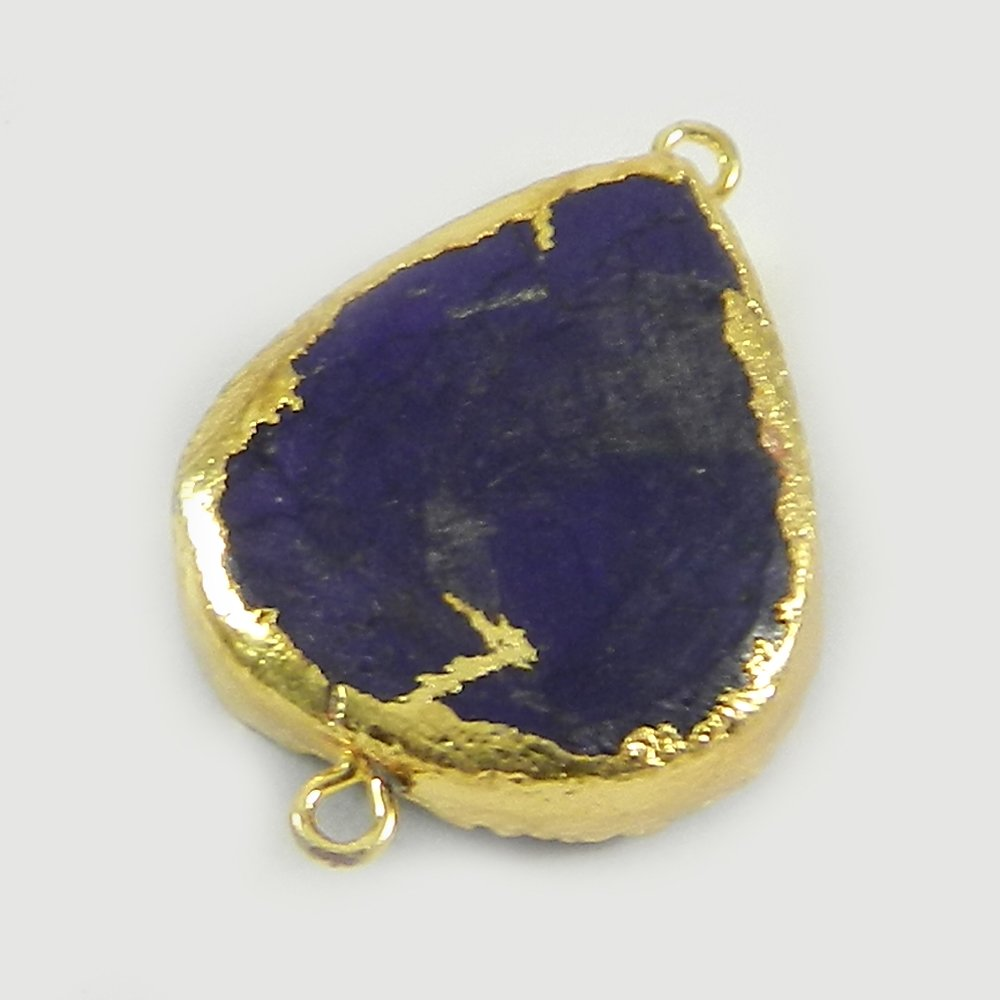 Amethyst Druzy Heart 32x22mm Gold Electorplated Double Loop Connector