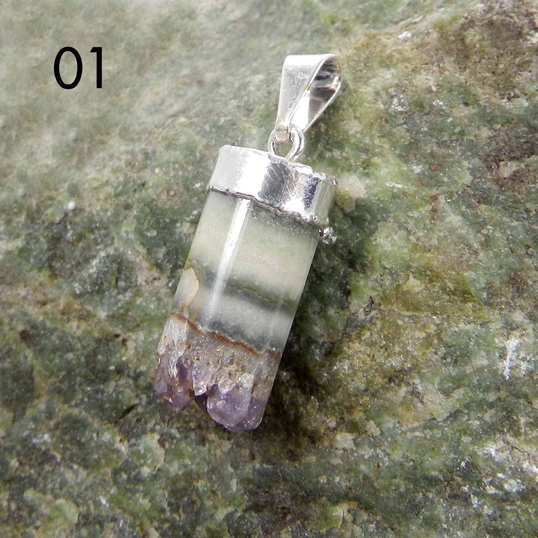 Amethyst Druzy Pencil Silver Electroplated Bezel Set Pendant