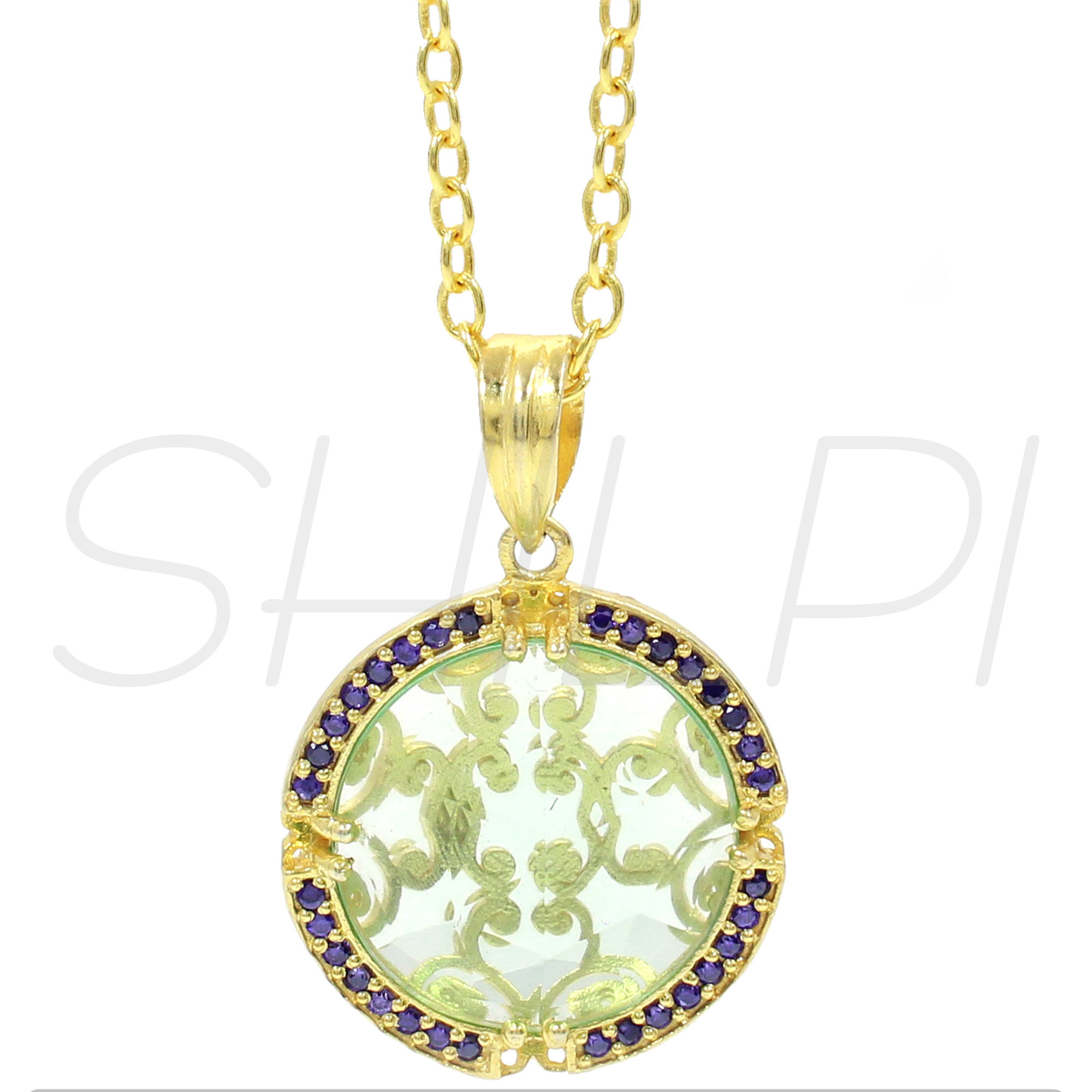 Amethyst Hydro &  Blue CZ Gold Plated Handmade Long Chain Pendant Necklace