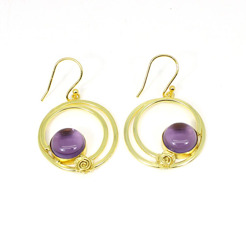 Amethyst Hydro Gemstone Brass Gold Plated Designer Circular Earring