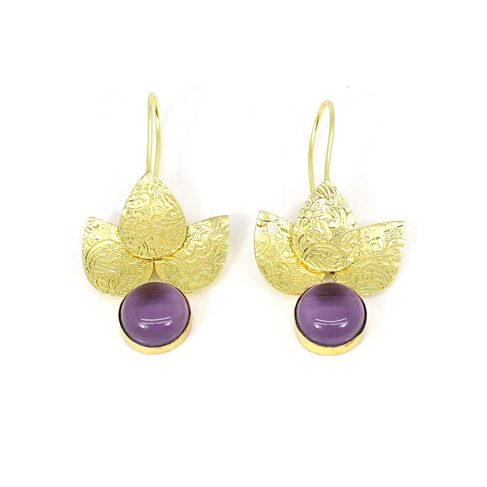 Amethyst Hydro Gemstone Brass Vermeil Leaf Designer Earring