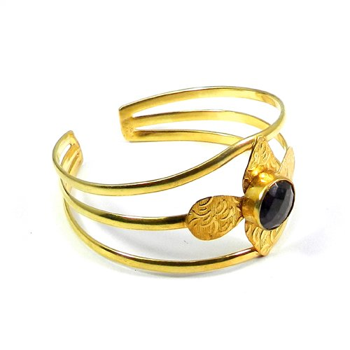 Amethyst Hydro Gold Plated Bezel Set Adjustable Charm Cuff Bracelet