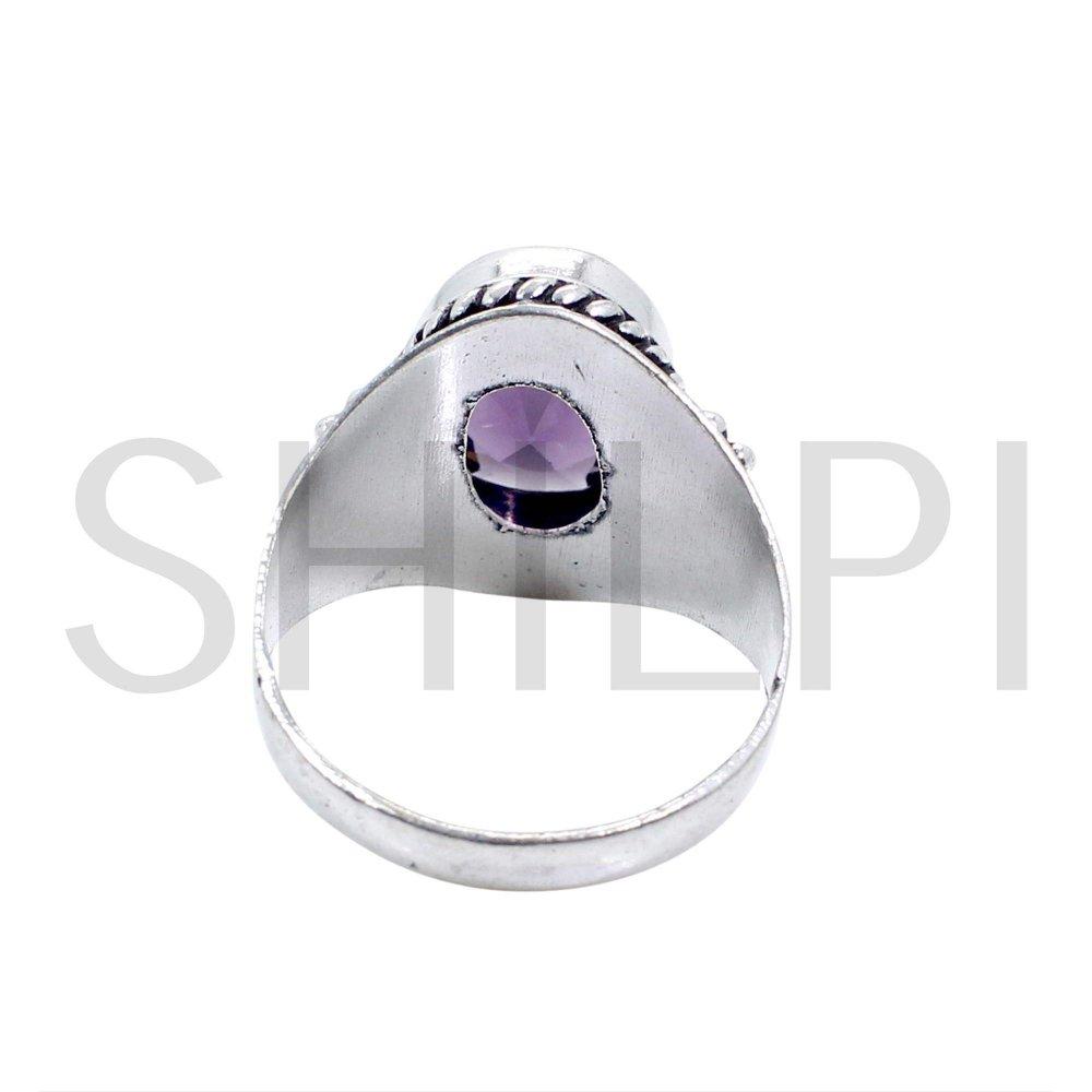 Amethyst Hydro Oxidized 925 Sterling Silver Handmade Ring