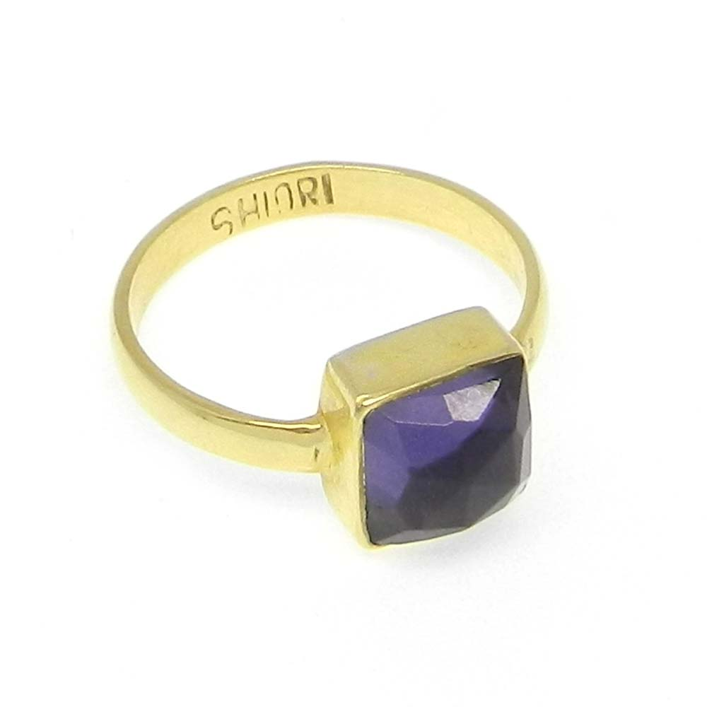 Amethyst Hydro Silver Gold Plated Bezel Ring