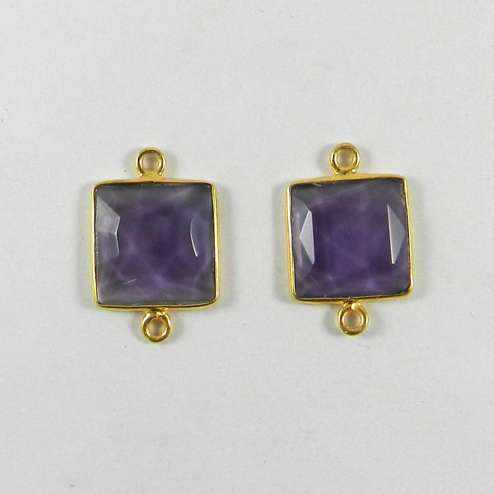 Amethyst Hydro Square 20x13mm 925 Sterling Silver Double Loop Connector