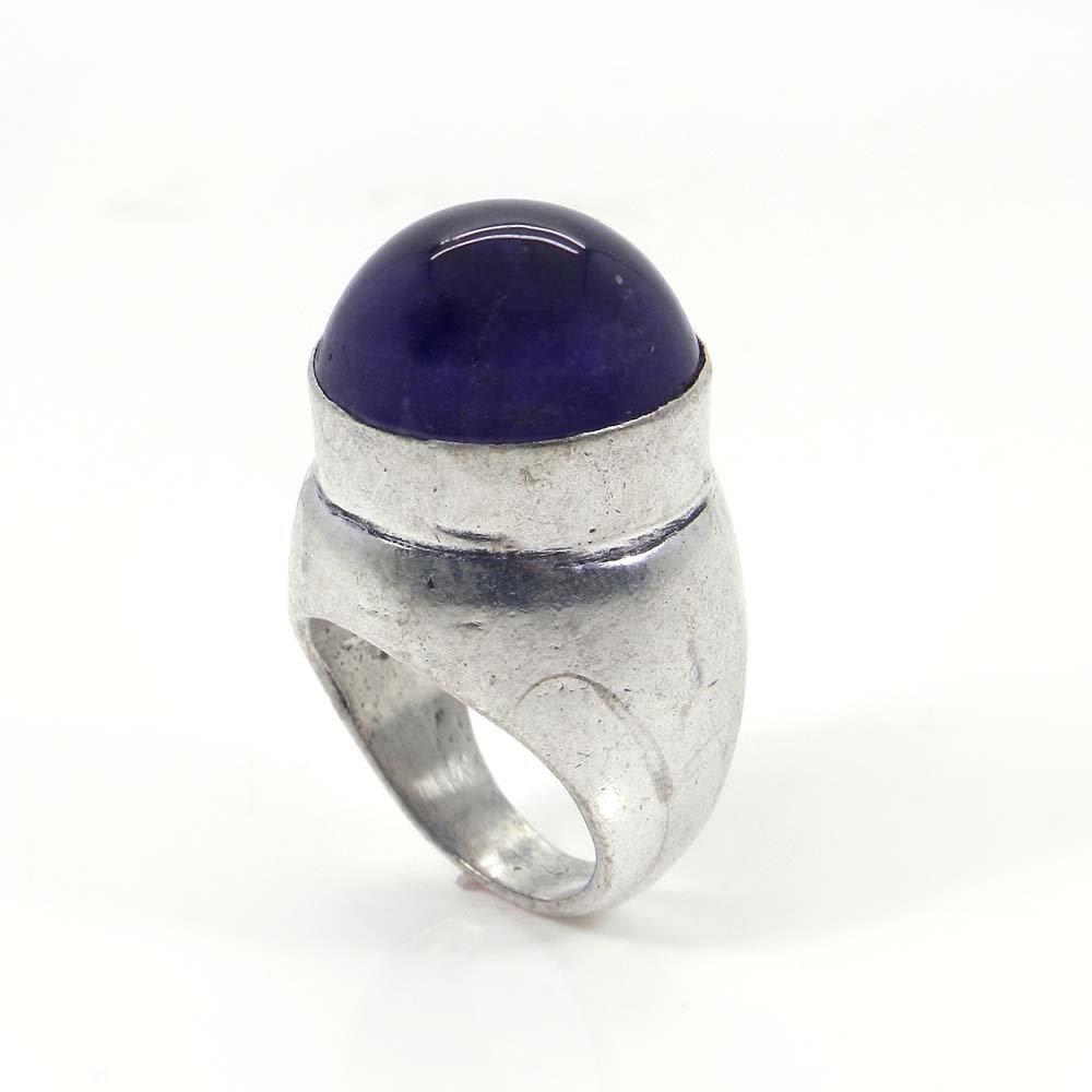 Amethyst Round Gemstone German Silver Bezel Set Ring