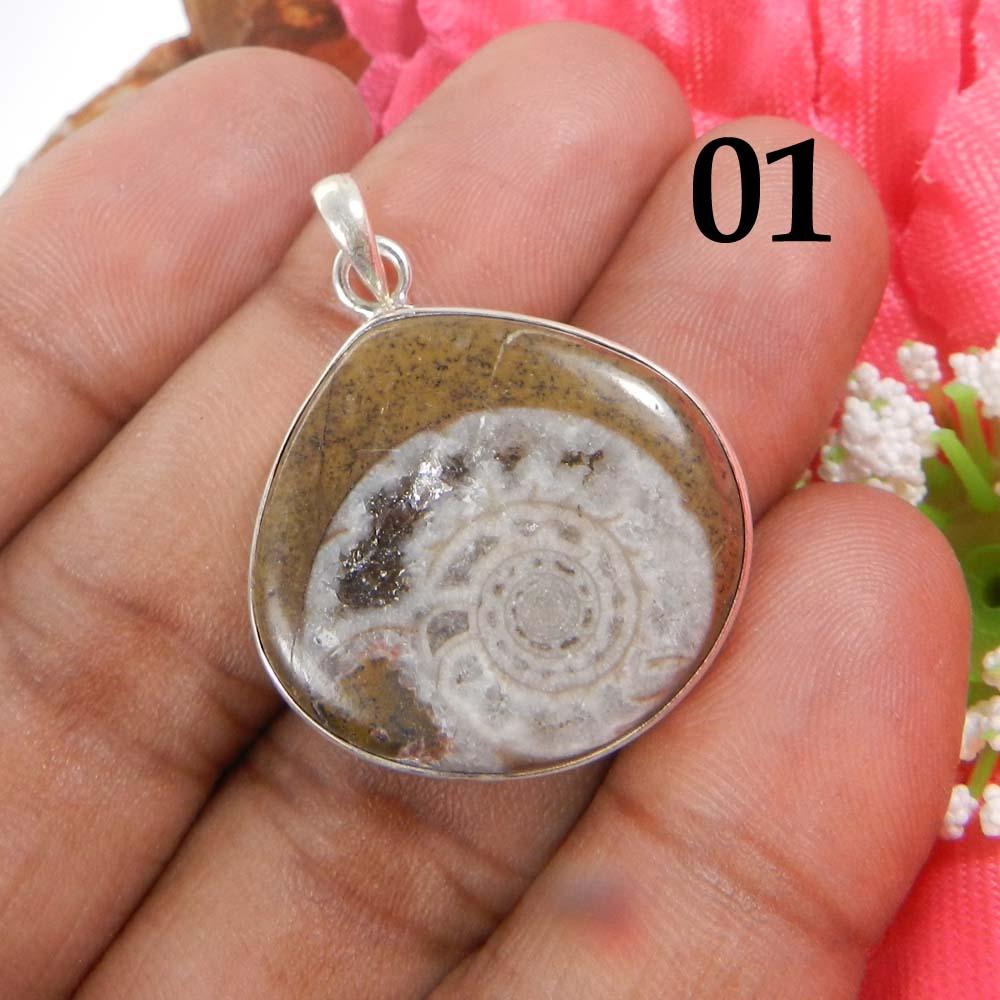 Ammonite Brown 925 Sterling Silver Designer Bezel Set Pendant