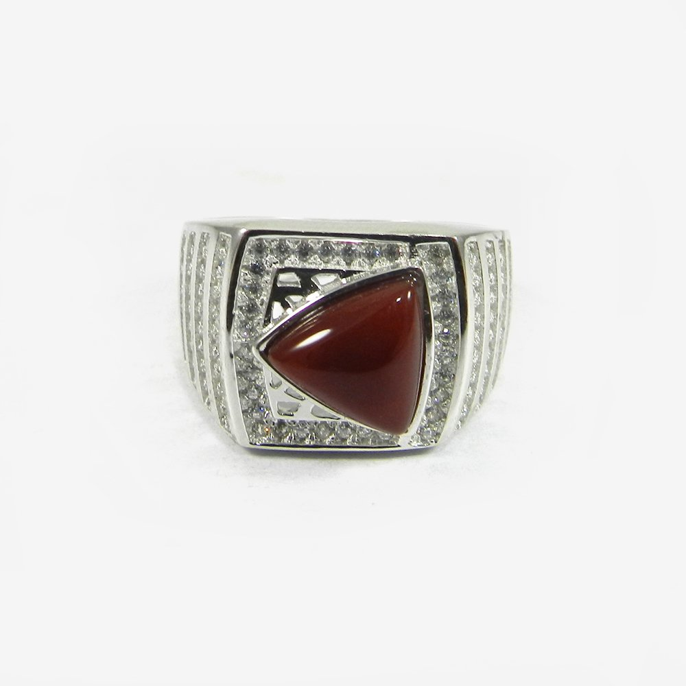 Anabelle Red Onyx & White Cubic Zircon Silver Bezel Set Ring
