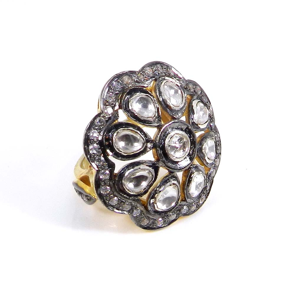 Anabelle White CZ Silver Gold & Black Ruthenium Plated Ring