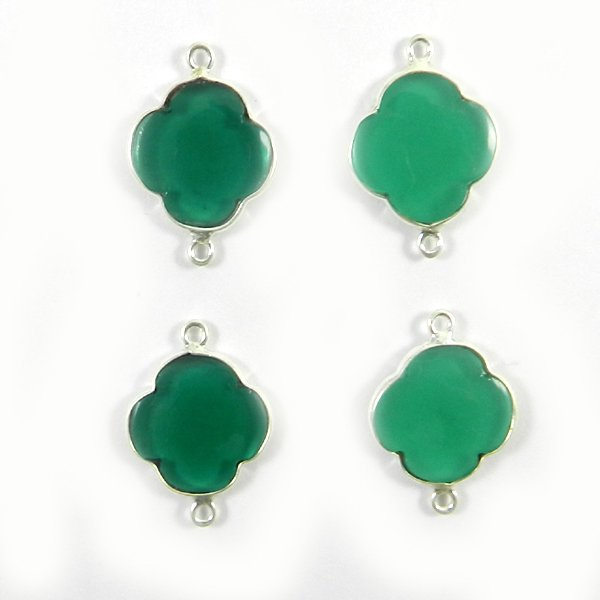 Apatite Hydro Clover 24x17mm 925 Sterling Silver Double Loop Connector