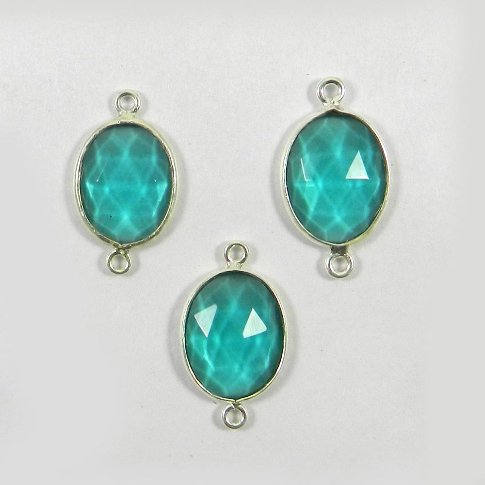 Apatite Hydro Oval 23.8x13.5mm 925 Sterling Silver Double Loop Connector