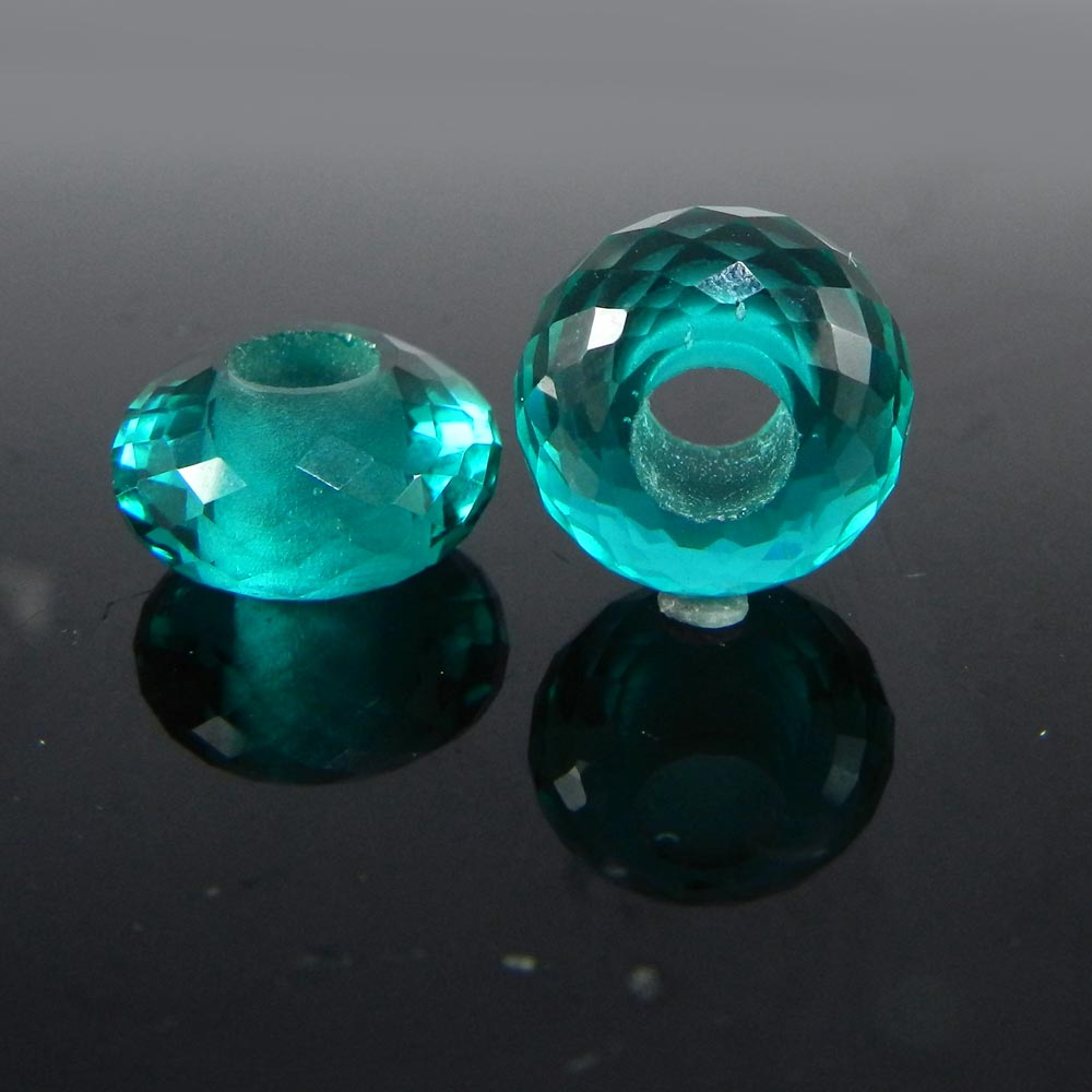 Apatite Hydro Roundel Facet Big Hole Beads For Jewelry Making