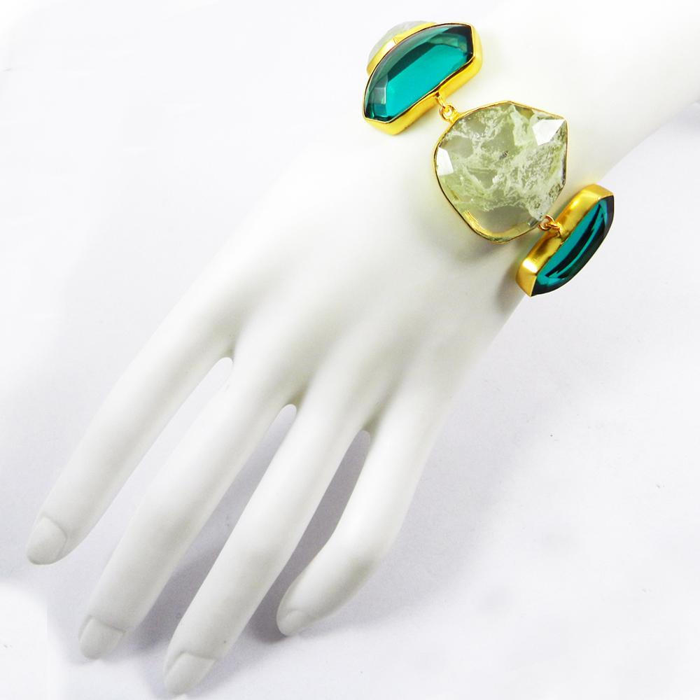 Apatite Hydro,Crackle Glass Gold Plated Link Chain Designer Bracelet