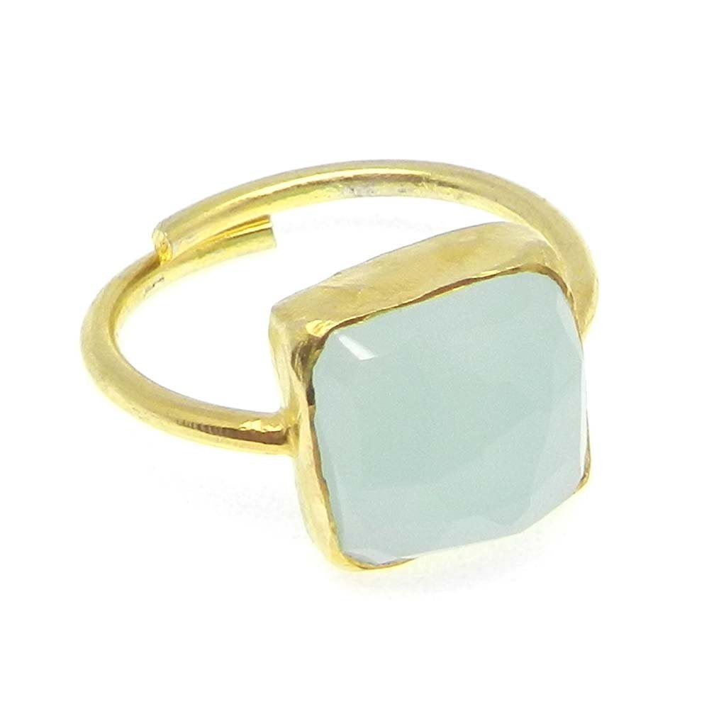 Aqua Chalcedony 925 Sterling Silver Adjustable Ring