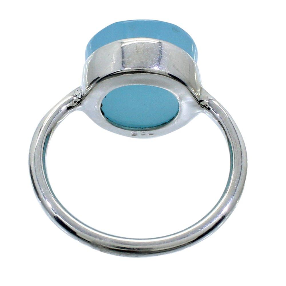 Aqua Chalcedony 925 Sterling Silver Handcraft Bezel Set Ring