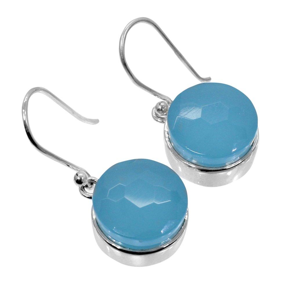 Aqua Chalcedony 925 Sterling Silver Handmade Dangle Earring