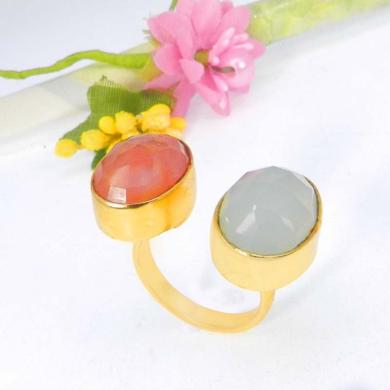 Aqua Chalcedony & Crackle Glass Gold Plated Adjustable Ring