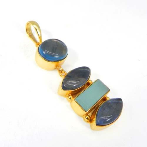 Aqua Chalcedony & Doublet Gemstone Handmade Gold Plated Pendant