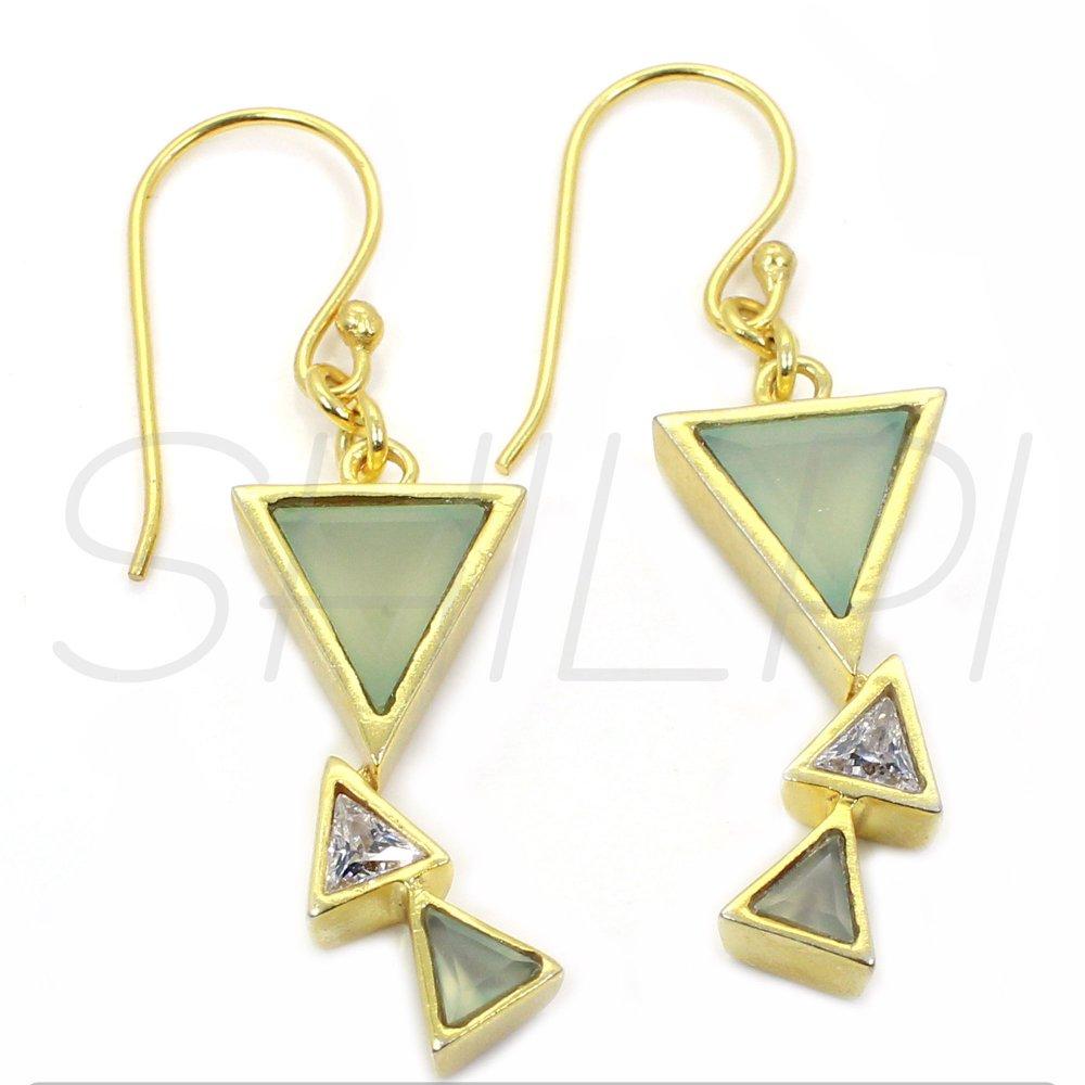 Aqua Chalcedony & White Zirconia Gold Plated Designer Dangle Earring