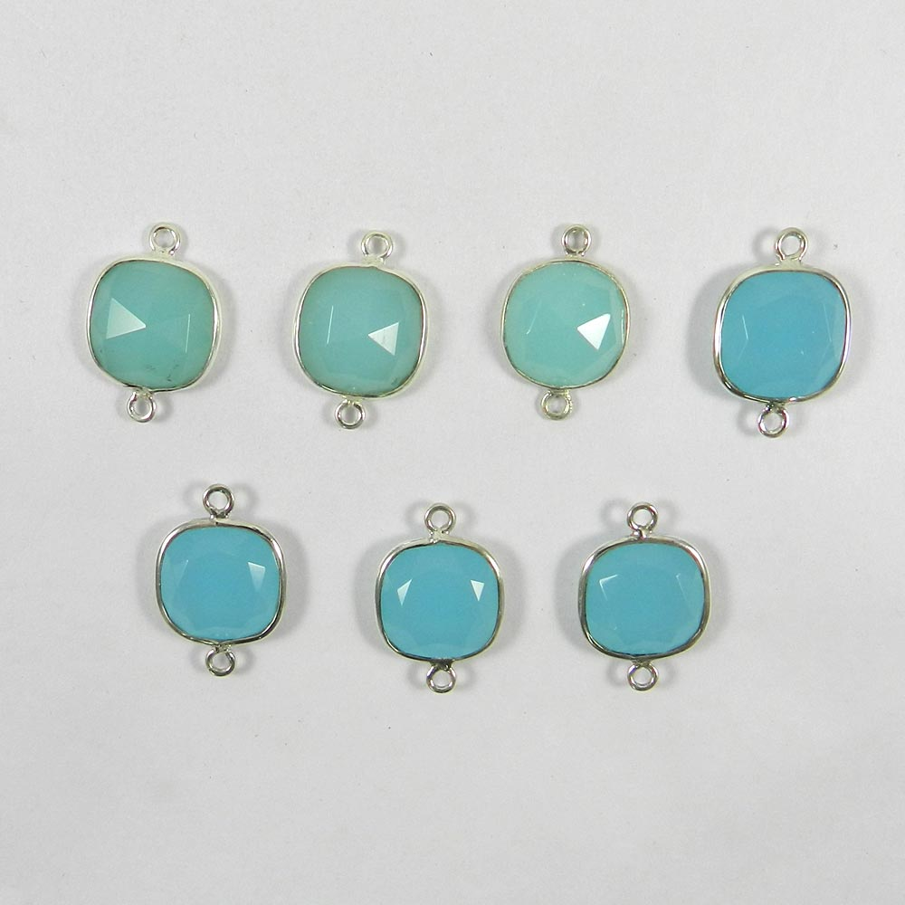 Aqua Chalcedony Cushion 20x14mm 925 Sterling Silver Double Loop Connector